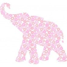 INKE Baby Elephant Wall Decal Pink  --- The Baby Elephant is part of the original series of wallpaper animals by Inke. Hand made from rare vintage and designer wallpaper. The silhouette comes as an easy DIY kit, complete with instructions, a sachet of ecological wallpaper paste and a brush. Size: 94 x 88 cm (WxH). Made from 3 pieces of wallpaper.  Made in The Netherlands. Available in 3 colours.