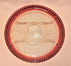 Vintage Ruby Flashed Diamond Point Divided Service Platter
