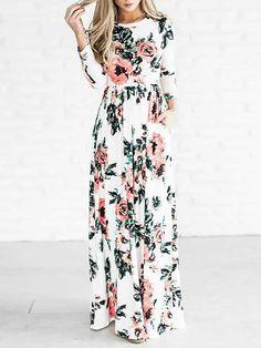 Plus Size Vintage Floral Pleated Maxi Dress