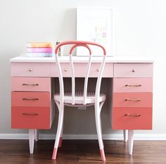 Ombre pink desk - Well, Pink isn't my favourite color but I can certainly get behind the ombre! This would be beautiful in a kids room or funky creative office space.  The touches on the chair is such a beautiful detail to tie everything together!