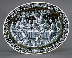 Dish: The Wedding Feast of Cupid and Psyche, 1558  Pierre Reymond (French, 1513–after 1584)  Enamel on copper