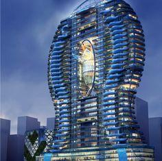 """インド・ムンバイのバーンドラ(Bandra)に建築が計画されている、高層タワーマンション""""Bandra Ohm""""。最大の特徴は各部屋のバルコニーにプールが設置されている点にあり、高さ140メートル・30階建ての各階でリゾート気分が味わえる。 本マンションは、香港に本社を置くJames Law Cybertec"""