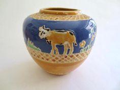 Vintage Ceramic Farm Animals Vase Farmhouse Decor Blue and
