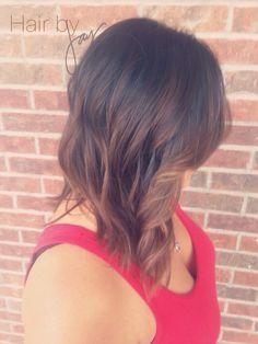 Caramel color melt on dark medium length hair  Dark brown to caramel ombré