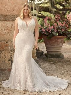 You've mastered sense. You've mastered sensibility. This sequin lace fit-and-flare wedding gown in a breathtaking silhouette is designed to complement both. Nude Gown, Blush Gown, Bridal Gowns, Wedding Gowns, January Wedding, Maggie Sottero Wedding Dresses, Gowns Of Elegance, Lace Bodice, Lace Sleeves
