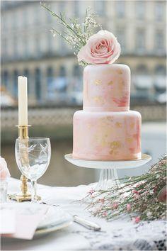 Peachy pink wedding cake
