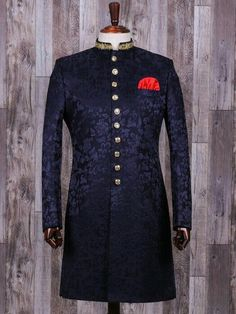 Shop Navy terry rayon classy indo western online from India. Blue Sherwani, Sherwani Groom, Mens Sherwani, Tuxedos, Nigerian Men Fashion, Indian Men Fashion, Indian Wedding Clothes For Men, Indian Groom Dress, Sherwani For Men Wedding