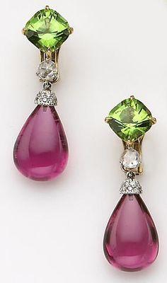 A pair of peridot, pink tourmaline, diamond and eighteen karat gold earrings