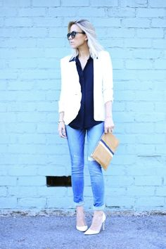 With a destroyed light wash, these A&F Alyssa Super Skinny Jeans are great when paired with a chic white blazer!