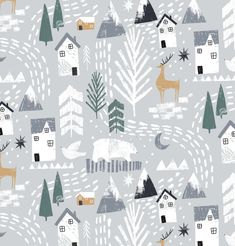Winter pattern / surface design illustration with houses and deer in the snow. Wintermuster- / Oberflächendesignillustration mit Häusern und Rotwild im Schnee. Illustration Noel, Pattern Illustration, Illustrations, Christmas Illustration Design, Natural Christmas, Christmas Design, Christmas Tree, Xmas, Christmas 2019
