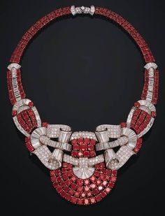 Art Deco Ruby & Diamond Necklace! #Necklace #Jewelry