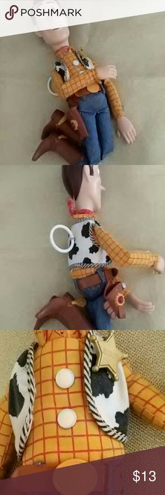 """Toy Story Woody Talking Doll Disney Pixar Thinkaway Toys, Talking Woody Pull String Doll, says phrases, """"This town ain't big enough for the two of is""""and many other funny phrases, missing gun and broken spur on one boot,  used, good condition no rips or tears, measures 16 inches,rare, 1995 Disney Other"""