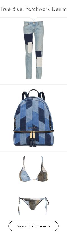 """""""True Blue: Patchwork Denim"""" by polyvore-editorial ❤ liked on Polyvore featuring patchworkdenim, jeans, pants, bottoms, calças, trousers, light indigo, patchwork jeans, simon miller and indigo blue jeans"""