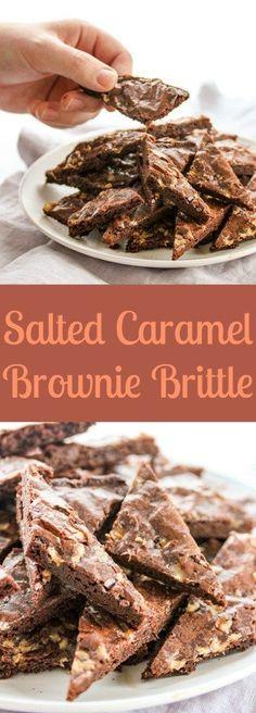 Salted Caramel Brownie Brittle-Brownie Mix, Toffee Bits & Coarse Sea Salt 3 ingredients.