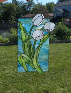 WhiTe TuLips StaiNeD GlAss PanEL by LanieMarieDesigns on Etsy
