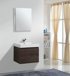 Image of Stunning Small White Bathroom Vanity with Sink Using Built in Basin for White Ceramic Countertop Above Floating Cabinets with Dark Wood Veneer Sheets also Cream Sheer Curtains with Tops Ikea Small Bath Vanities Sink Drawers Bathroom Vanity Sink Tops