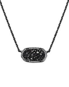 Elisa Pendant Necklace in Black Drusy - Kendra Scott Jewelry