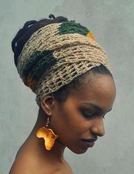 ILA Crochet Head Wrap with Rasta Stripe www.iloveafrika.com