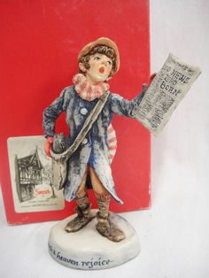 Simpich Character Dolls Christmas Caroler Newsboy Porcelain 1986 Good News
