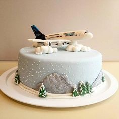 Airbus Cake made for a fan of big airplanes. Plane is made from fondant with some cmc powder. Airplane Birthday Cakes, 4th Birthday Cakes, Airplane Cakes, Cake Cookies, Cupcake Cakes, Planes Cake, Cake Board, Piece Of Cakes, Love Cake