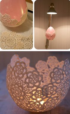 Doily candle holder.