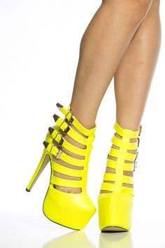 2e3ed00d426 Neon Yellow Faux Leather Caged Platform Stiletto Heels