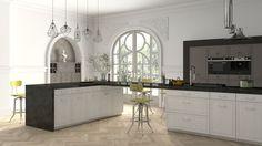 Prostota, która tkwi w białych frontach doskonale wpasuje się do eklektycznej kuchni. Ściany z dekoracjami w stylu klasycyzującym, wyraziste, industrialne lampy i nowoczesny sprzęt AGD, tworzą niepowtarzalną i oryginalną aranżację. Kitchen Island, Kitchen Cabinets, Home Decor, Island Kitchen, Decoration Home, Room Decor, Cabinets, Home Interior Design, Dressers