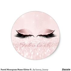 Pastel Monogram Name Glitter Pink Eyes Lash Girly Classic Round Sticker - pink gifts style ideas cyo unique