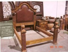 Mexican Furniture: Mesquite, Leather and Wrought Iron Bed