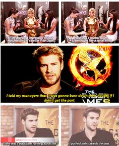 Liam Hemsworth. Is hilarious. And awesome. And his brother is Thor so that's like...wow you don't mess with dem Hemsworth Boys.