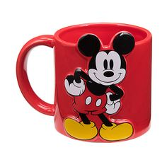 A sculpted Mickey Mouse poses playfully upon this cheerfully hued mug, with two of his famous round ears poking up just above the rim. Cocina Mickey Mouse, Mickey Mouse Mug, Mickey Mouse Kitchen, Mickey Y Minnie, Disney Kitchen, Disney Mickey Mouse, Disney Tassen, Winnie The Pooh Mug, Disney Furniture