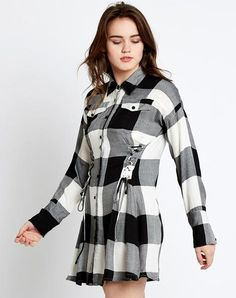 Shop Online Designer Black & White Block Printed Full Sleeves Style Shirt Mini Dresses in India at Best Prices? Western Dresses For Women, Mini Dresses For Women, Dresses With Sleeves, Full Sleeves, Buy Dress, Lace Dress, White Dress, White Lace, Black And White