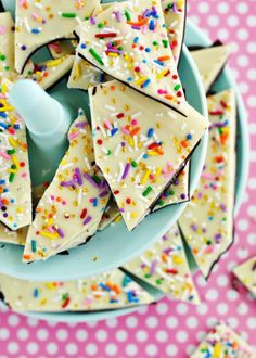 Cake batter and sprinkles bark.