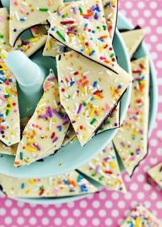 Cake batter & sprinkles bark.