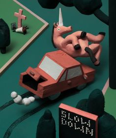 The Last Unicorn Legendary or not, beasts of all breeds stand no chance against suburban infrastructure. www.hudsonchristie.com Clay Animation, The Last Unicorn, Pretty Art, Stop Motion, Book Illustration, New Art, Illustrators, Art Drawings, Concept Art