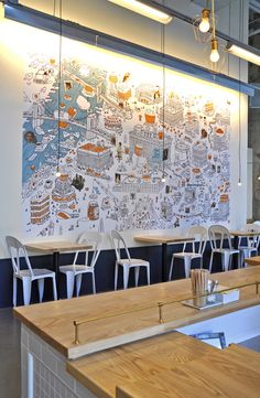 """One Girl Cookies Mural""A Jumbo wall map and illustration for One Girl Cookies and the architect and designer, Oliver Freundlich. The mural is 15 x 9 feet and located at One Girl Cookie's second Brooklyn location in Dumbo, NY."