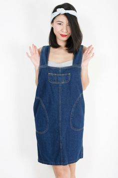 Stylish loose pinafore-look shift cut denim dress | EzzentricTopz |VintageDenim #Pinafore #Overalls #Dungarees #MiniDress