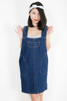Stylish loose pinafore-look shift cut denim dress | EzzentricTopz |VintageDenim #Pinafore #Overalls #Dungarees #MiniDress
