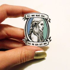 Daenerys Targaryen, Game of Thrones, illustrated portrait art brooch badge