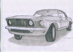 Ink and pencil drawing of a 1965 Ford Mustang