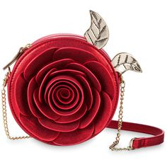 Beauty and the Beast Enchanted Rose Crossbody Bag by Danielle Nicole ($60) ❤ liked on Polyvore featuring bags, handbags, shoulder bags, purses, imitation handbags, crossbody handbag, red crossbody handbags, red cross body purse and glitter shoulder bag