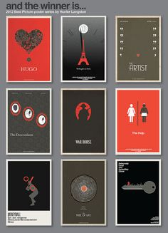 2012 Best Picture Poster Series by Hunter Langston. (Hugo, Midnight in Paris, The Artist, The Descendants, War Horse, The Help, Moneyball, Tree of Life, Extremely Loud and Incredibly Close)