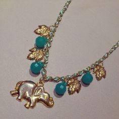 elefante elephant gold necklace collares collar shuuforyou hechoamano handmade fashion accessories accesorios blue chain style moda beautiful
