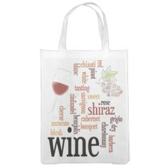 Wine Word Cloud Design Reusable Tote. Perfect for the wine lover!