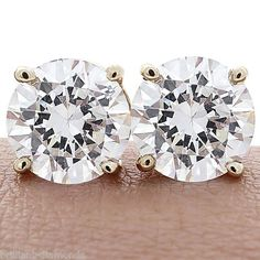 2.00 CTW BRILLIANT ROUND CUT BASKET SCREWBACK EARRINGS SOLID 14K YELLOW GOLD