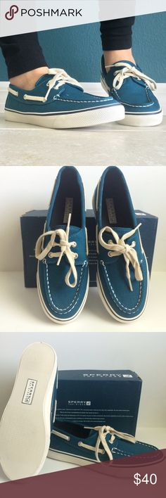 Teal Sperry Boatshoes Completely new! They're a pretty dark teal color that's a bit difficult to capture in photos.                                                                                              Comes from a smoke-free, pet-free, clean home. Will give custom discount on bundles. Offers and questions welcomed  Sperry Top-Sider Shoes