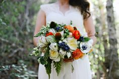 bright woodsy bouquet, photo by Blush Photography http://ruffledblog.com/sundance-resort-wedding #weddingbouquet #flowers