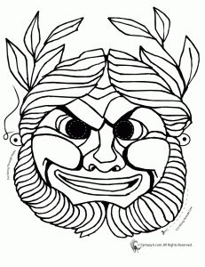 Greek Masks Coloring 3 231x300 Printables And Pages