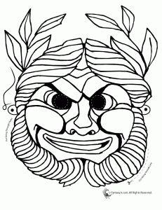 greek masks coloring 3 231x300 greek masks printables and coloring pages