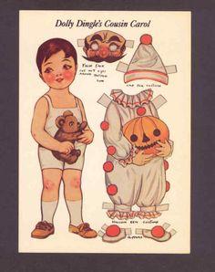 Drayton Halloween Paper Dolls Dolly Dingle Clown Repro of Old Image Postcard   eBay